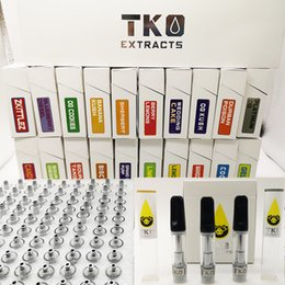 Threading meTal online shopping - 0 ml TKO Cartridges Extracts Empty Oil Vape Pen Black Ceramic Tips Packaging Ceramic Coil Carts vaporizer e cigarette Thread Atomizers