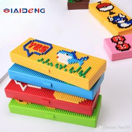 Kids case holder online shopping - Kids Blocks Pencil Cases Bricks Stationery Box for Children Creative Building Blocks School Stationery Holder Kids Promotional Gifts