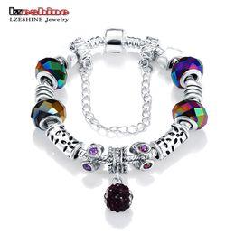 $enCountryForm.capitalKeyWord Australia - LZESHINE Big Sale European Vintage Beads Charm Bracelets Antique Silver Chain with Crystal Ball Pendant Bride Jewelry PCBR0030