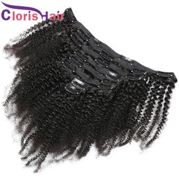 peruvian hair clip cheap NZ - Thick Natural Color Raw Indian Remy Clip In On Hair Extensions Cheap Afro Kinky Curly 120g Full Head 8pcs Human Hair Clip Ins 10-20inch