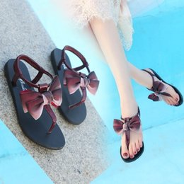$enCountryForm.capitalKeyWord Australia - Current2019 Summer Student Flat Bottom Gradual Change Color Bow Toe Rome Beach Shoes Pinch Sandals Woman