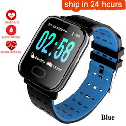 ios compatible Canada - A6 Fitness smart watch Heart Rate Monitor Blood Pressure Measure Sport Waterproof smartwatch Wrist Fitness Tracker for Android IOS pk q8