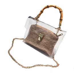 $enCountryForm.capitalKeyWord NZ - Transparent Bag For Women Handbag With Bamboo Handle Summer Small Chain Crossbody Bags Ladies Straw Beach Bags(Khaki)