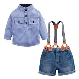 BaBy Blue coat suit online shopping - Summer Baby Boys Denim Sets Clothing Blue Striped Casual Shirts Suspender Shorts Jeans Pants PC Suits Costume Kids Clothes