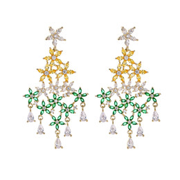 Copper For Jewelry UK - Shinning Crystal Flowers Earrings For Women New Fashion Long Dabgke Chandelier Female Wedding Brand Jewelry With CZ