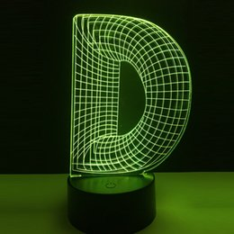 Unique Diy Christmas Gifts Australia - Unique 3D Night Light Alphabet Letter DOG FOR D Desk Table Led Lamp Home DIY Decoration Gifts for Kid Baby New Year Touch Remote
