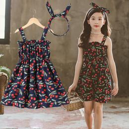 b677c28af4 Children's clothing new 2019 summer children's skirt big boy floral cherry girl  dress Korean version of the princess dress skirt tide