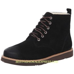 Shearling Boots Australia - winter couple lace-up shearling booties woman shoes black snow boots flat leather Martin boots
