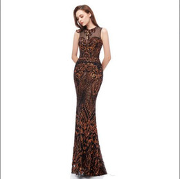 size 22w royal blue evening gown UK - Chic Stylish Mermaid Black Brown Prom Dresses 2019 Jewel Neck Pattern Lace Sequins Applique Elegant African Arabic Long Formal Evening Gowns