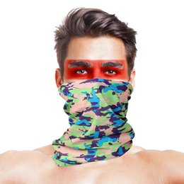 Polyester Mask Australia - Military Camouflage Hiking Scarves Polyester Windproof Neck Warmer Anti Tactical Face Mask Bandana Gear Accessories