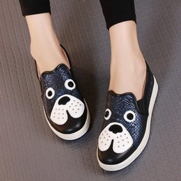 $enCountryForm.capitalKeyWord NZ - Big Eyes Woman Flat Shoes 2019 New Spring Women Loafers Genuine Leather Cartoon Dog Flats Round Toe Slip-on Casual Shoes 4 Color
