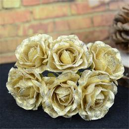 $enCountryForm.capitalKeyWord Australia - 42Pcs Sprayed Gold Silk Rose Artificial Flower Bouquet for Wedding Home Decoration Bridal Bouquet Scrapbooking Fake Craft Flowers