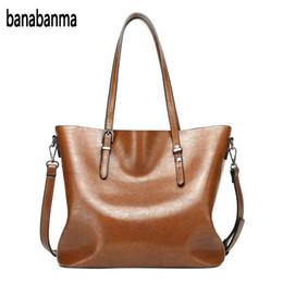 $enCountryForm.capitalKeyWord Australia - banabanma Women's Retro Oil Wax PU Solid Color Bucket Bag Tote Bag Satchel Handbag Shoulder Office Ladies Hobos ZK30