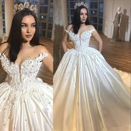 Discount modest corset back wedding dresses - luxury arabic ivory ball gown wedding dresses taffeta puffy beaded appliques plus size bridal gowns modest corset top ve