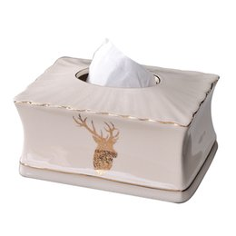 $enCountryForm.capitalKeyWord UK - Elegant Gold Antlers Tissue Box Cover Chic Napkin Case Holder Hotel Home Decor Organizer