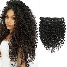 "Real Human Kinky Hair Australia - Real Hair 100% Mongolian Virgin Human Hair 3B 3C Kinky Curly Clip In Clip On Hair Extenstion(3B-3C, 14"")"