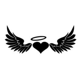 $enCountryForm.capitalKeyWord UK - 18*7.1cm Heart Angel Wings Halo Car Window Fashion Personality Creativity Vinyl Decal Sticker