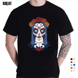 $enCountryForm.capitalKeyWord Australia - 2019 Newest Short Sleeve Day of the Dead Sugar Skull T Shirt Men's Novelty Faddish Tees On Sale Best Gift PP Rose Christian Skul