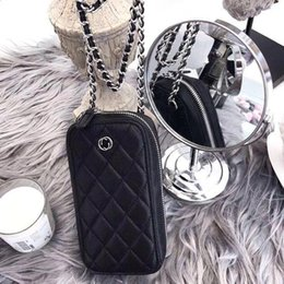 Small Packages NZ - Caviar Make A Fortune Small Fragrant Mobile Phone Package Female Slanting Student Sideric Chain Package Girl Slanting Wallet Dual-use