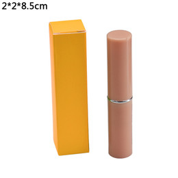 orange lipstick NZ - 2*2*8.5cm Orange Foldable Paperboard Boxes DIY Lipstick Kraft Paper Package Boxes Wedding Birthday Party Craft Paperboard Box 50pcs lot