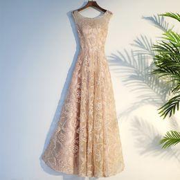 $enCountryForm.capitalKeyWord Australia - Unique Lace Champagne Evening Dresses 2019 Prom Gown Scoop Illusion Back Princess Party Formal Dresses vestidos de fiesta