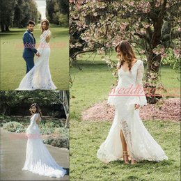 Front Slit Wedding Gowns Australia - Stunning Lace Front Slit Mermaid Wedding Dresses Long Sleeve Backless Country Garden african Boho Bride Dress Bridal Gown Formal Wear Custom