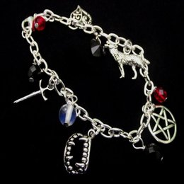 Swords Gifts NZ - Vampire Teeth Charms Cuff Bracelet Vintage Silver Gothic Witchcraft Gems Pentagram Wolf Sword Bohemian Anklets Bracelets Women Jewelry Gifts