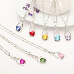 wholesale crystal gold 2019 - fashion vision trendy crystal pendant necklace bottle heart necklaces 17 colors for options jewelry model no. NE935 chea