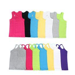 $enCountryForm.capitalKeyWord Australia - Children T Shirts For Girl Summer Boys Cotton Candy Color Girl Top Sport Vests Baby Kid Undershirt 1-13years