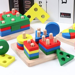 typing board UK - DIY wooden building blocks toy Montessori geometric shape pairing board model set early learning educational toy for children T200622