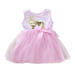$enCountryForm.capitalKeyWord Australia - Kids Girl Dress Easter Golden Rabbit Stripe Gauze Round Collar Sleeveless A-line Dress Baby Girl Bow Princess Tutu Dress 6M-4T