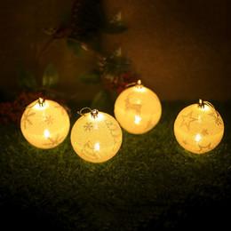 Outdoor Christmas Ornament Balls Australia - Christmas LED Light Balls Snowflake Elk Star Printing Ornaments Christmas Tree Decoration Chrismas Party Bedroom Outdoor Decor