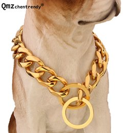 gold curb necklace 2019 - Drop Shipping 17mm Gold Silver Double Curb Cuban Link Stainless Steel Dog Chain Collar Necklace for Large Dogs Pitbull B
