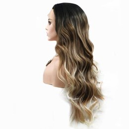Discount ombre long weave - Ombre Brown Weave Synthetic Lace Front Wigs Body Wave Glueless Lace Wig Heat Resistant Synthetic Hair Cosplay Wig For Af