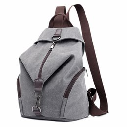canvas backpack purses UK - JHD-Canvas Backpack School Bag Casual College Travel Purse Shoulder Bag For Men Women (Grey)
