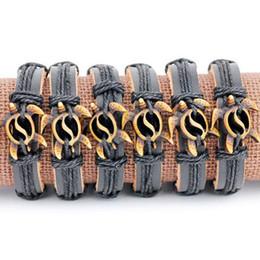 $enCountryForm.capitalKeyWord Australia - Jewelry Wholesale lot 12pcs yak bone carved lovely hollow turtles pendants leather bracelets bangles gifts MB145