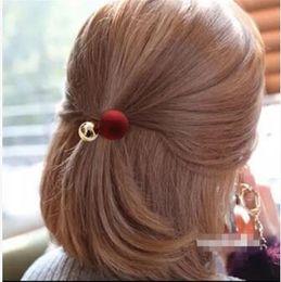 Golden Accessories Australia - 120pcs lot Scrub Pearl Golden Ball Hair Bands Multi Retro Dull Polish Hair Ring Hair Accessories & Tools HA239