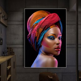 $enCountryForm.capitalKeyWord Australia - Sexy Black Nude African Woman Red Lips Canvas Painting Cuadros Posters and Prints Scandinavian Wall Art Picture No Framed