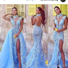 $enCountryForm.capitalKeyWord Australia - Stylish Mermaid Evening Dresses With Detachable Train Prom Dresses Light Blue Lace Applique 2019 Side Split Backless Turkey robes de soirée