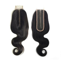 middle part closure wig NZ - OC902 Lace Hair Block remy Wig body wave human hair Kim K 2x6 lace closure Long straight Can be dyed Natural Color free shipping