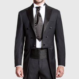 Suits Tails Australia - Custom Made Black Tailcoat Peaked Lapel Long Tail Men Suits Best Groomsmen Wedding Tuxedo(jacket+pant) C19041601