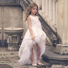 Off shOulder neckline yellOw dress online shopping - Feather High Low Flower Girls Dresses For Wedding Pearls Beads Appliques Jewel Neckline Girls Pageant Dress Back Zipper Kids Birthday Dress