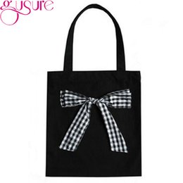 Wholesale Gusure Classic Plaid Bowknot Shoulder Bag High Capacity Girls Cloth Handbag Fashion Black White Canvas Shopping Bag For Women