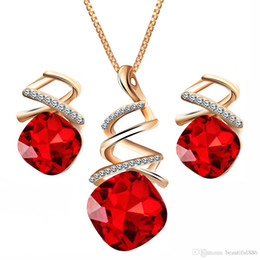 $enCountryForm.capitalKeyWord Australia - Fashion Geometric Crystal Jewelry Sets For Women Resin Pendant Necklace Charm & Luxury Stud Earrings Wedding Jewelry Gifts