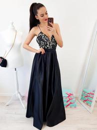$enCountryForm.capitalKeyWord NZ - Sexy Black Long Prom Dresses Deep V Neck Floor Length Elastic Satin Evening Gowns Top Lace Cross Backless Graduation Junior Prom Dress 2019