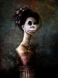Discount paint over canvas print - Weird Human Figure with Hand Over Face Art Silk Print Poster 24x36inch(60x90cm) 089