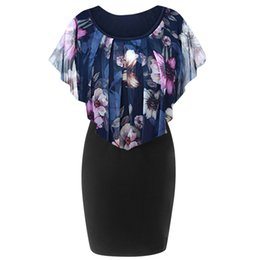 e2204ec277d Rose Wholesale Plus Size UK - Plus Size Dress Womens Summer Casual Rose  Print Chiffon O