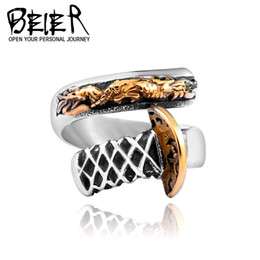 $enCountryForm.capitalKeyWord Australia - BEIER High quality Korean Edition Jewelry Wholesale Titanium Steel Electroplated 24K Gold Open Ring Men's Dragon Knife Creative Ring 405