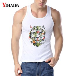 tiger print tank tops Canada - YIHAIFA Mens GYM Vest Floral Tiger Printed Singlet Bodybuilding Tank Top Men Fitness Shirt Hip Hop Sleeveless Tops T200706