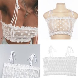 fffe37c64457 Ruffles Dot Lace Perspective Off Shoulder Tie Spaghetti Strap Sexy Crop Top  Party Club Women Bustier Cropped White Cami Bralette
